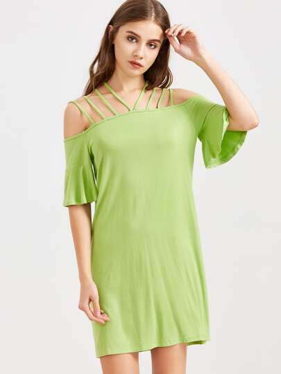 Green Strappy Cold Shoulder Ruffle Sleeve Dress