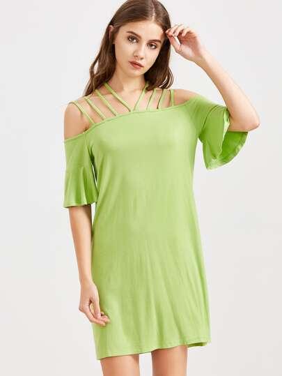 Vestido con hombro descubierto de manga con volantes - verde