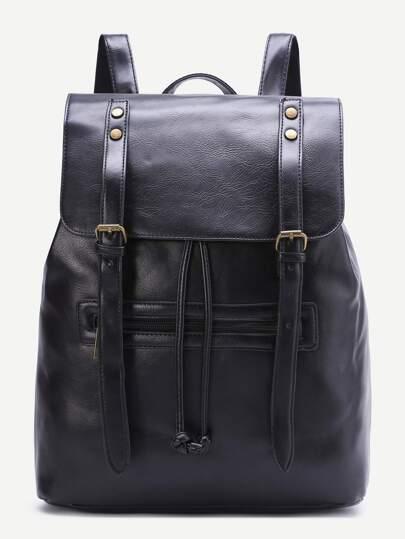 أسود مشبك مزدوج بو حقيبة الظهر
