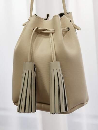 Tassel Mini Bucket Bag BEIGE
