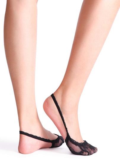 Black Half Sole Lace Socks With Strap