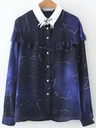 Blue Galaxy Print Ruffle Blouse
