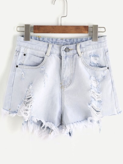 Pale Blue Ripped Raw Hem Denim Shorts