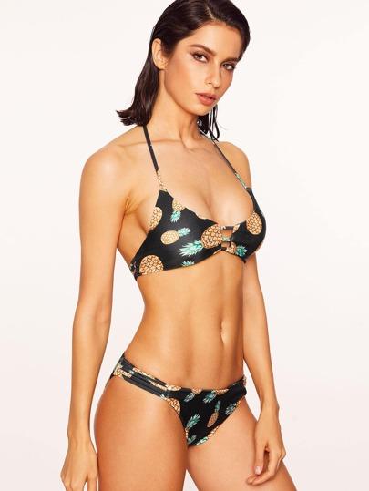 Black Pineapple Print Ladder Cutout Bikini Set