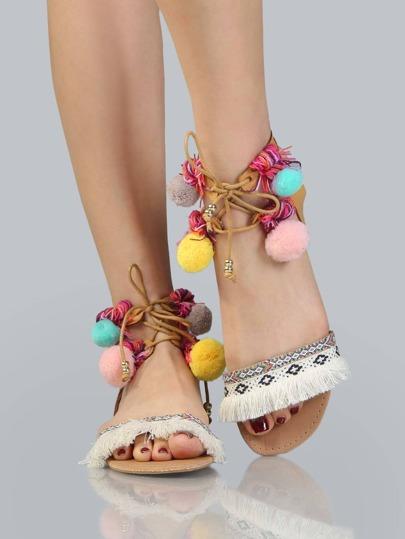 Tassel Pom Pom Embroidered Sandals CAMEL
