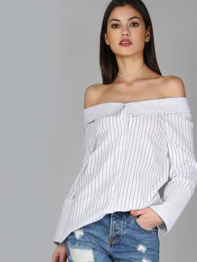 Boat Neck Striped Blouse WHITE