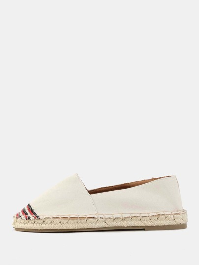 Canvas Embroidered Toe Flats BEIGE