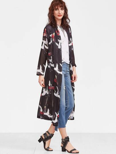 Black Gruidae Print Drawstring Kimono