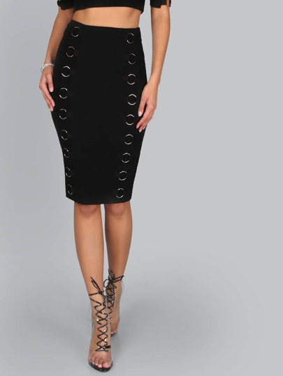 Hoop Eyelet Pencil Skirt BLACK