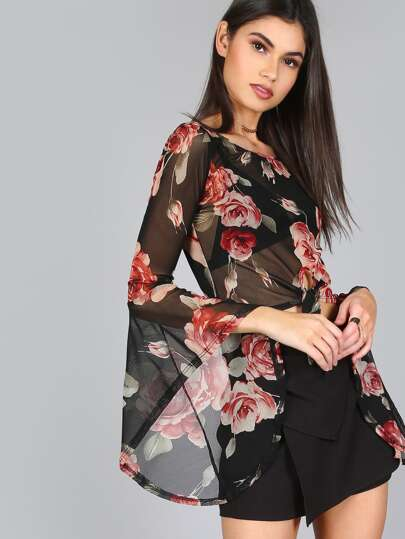 Sheer Floral Bell Sleeve Top BLACK