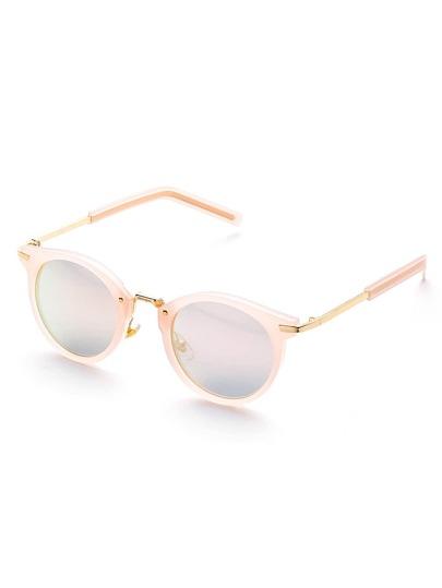 Pink Flat Lens Round Sunglasses