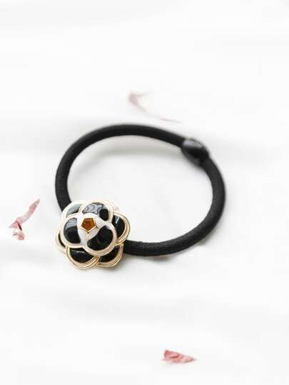 Black Enamel Flower Hair Tie