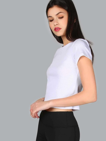 Ribbed Crop Top WHITE