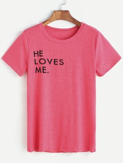 T-shirt con stampa di lettera, rosa