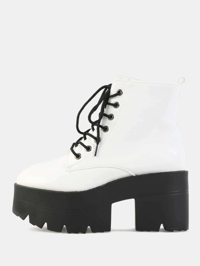 Lug Sole Ankle Boots WHITE