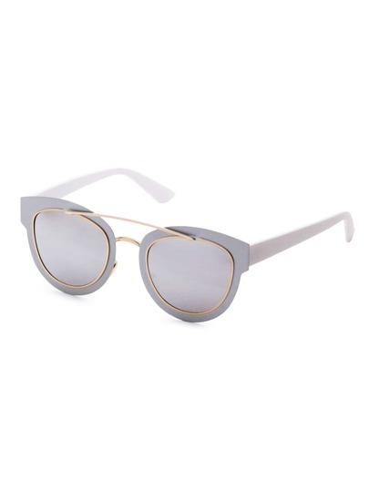 Silver Frame Double Bridge Sunglasses