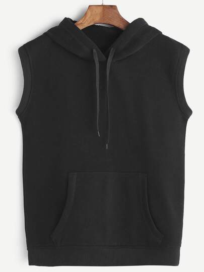 Black Hooded Pocket Sleeveless Top
