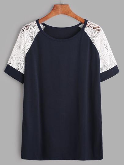 Navy Contrast Lace Raglan Sleeve T-shirt