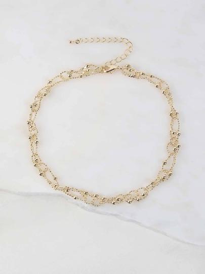 Beaded Metallic Choker Necklace GOLD