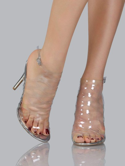 Transparent Cut Out Metallic Heels CLEAR