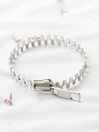 Silver Zipper Shape Bracelet