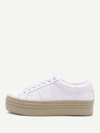 White Rubber Sole Lace Up PU Sneakers
