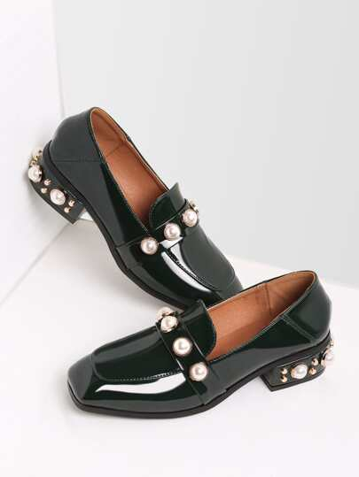 Dark Green Pearl Studded Patent Leather Low Heel Loafers