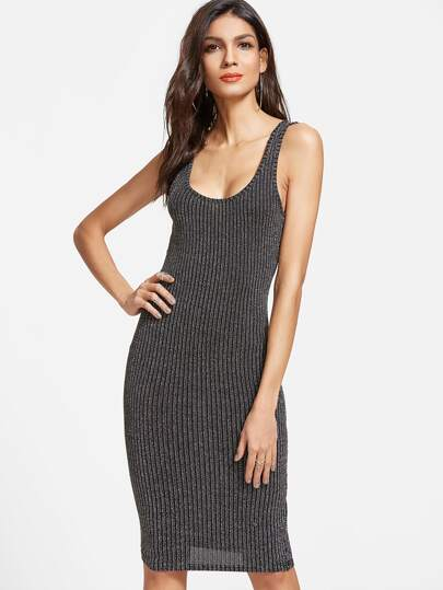 Black Ribbed Knit Bodycon Tank Dress