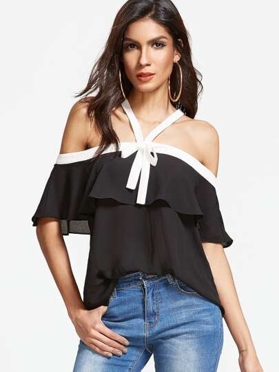 Open Shoulder Contrast Trim Self Tie Frill Top