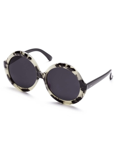 Black And White Frame Round Design Sunglasses