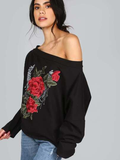 3D Embroidered Floral Bardot Pullover