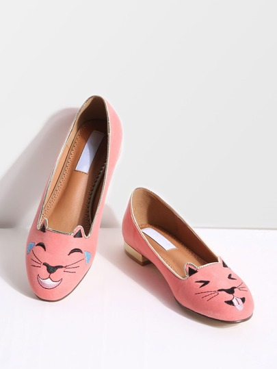 Pink Cat Embroidery Ballet Flats