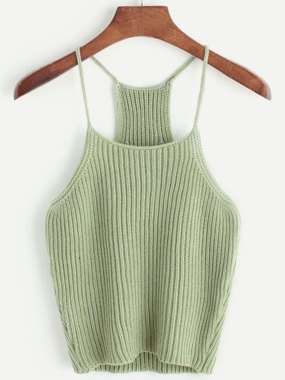 Strappy Racerback Ribbed Knit Cami Top