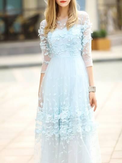 Vestido de croché en contraste - azul