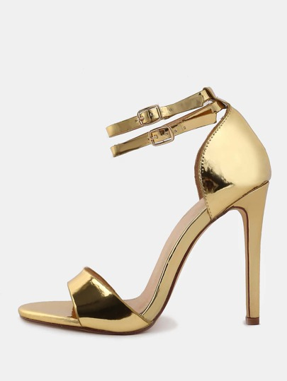 Metallic Open Toe High Heels GOLD