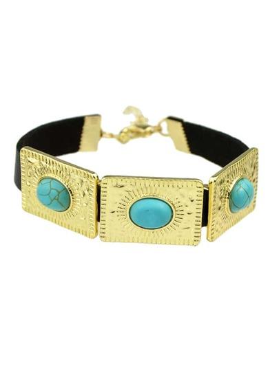 Blue Color Big Turquoise Wide Pu Leather Wrap Bracelets