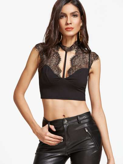 Lace Shoulder Open Back Strappy Crop Top