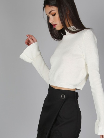 Bell Sleeve Crop Knit Sweater WHITE