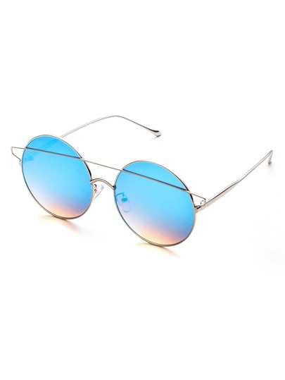 Blue Double Bridge Round Sunglasses