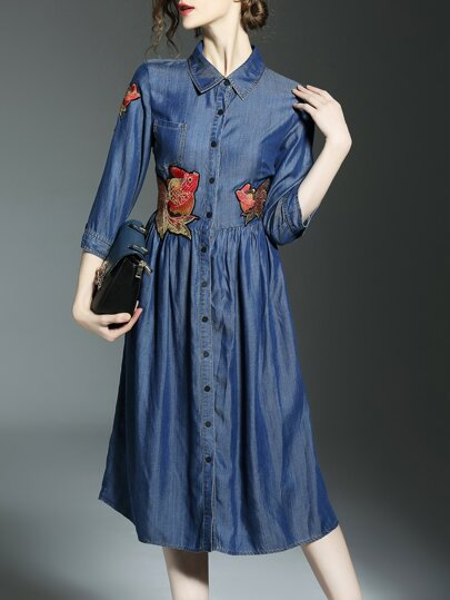 Blue Lapel Fishes Embroidered Denim Dress