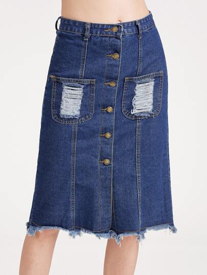 Dark Blue Single Breasted Ripped Raw Hem Skirt