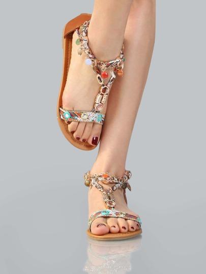 Printed Charm Accent Sandals COGNAC