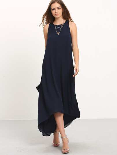 Halter Keyhole Back Dip Hem Dress