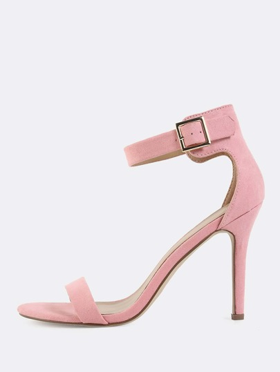 Single Sole Faux Suede Heels PINK
