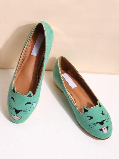 Grüne Katze Stickerei Ballett Ebenen