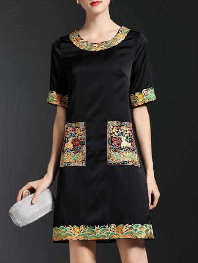 Black Vintage Embroidered Shift Dress