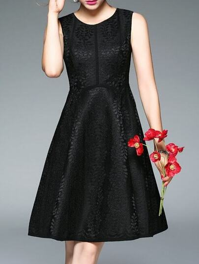 Black Crew Neck Lace A-Line Dress