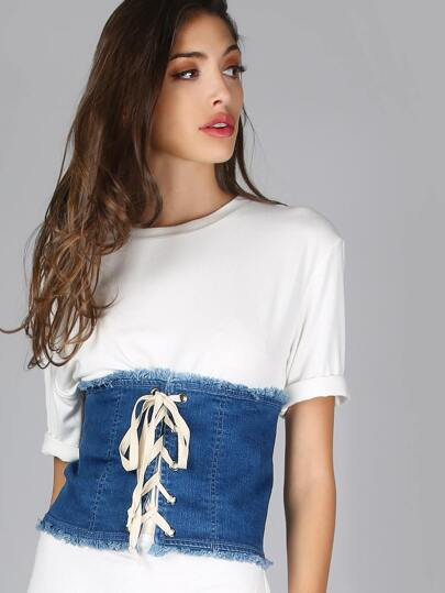 Frayed Denim Lace Up Corset DENIM