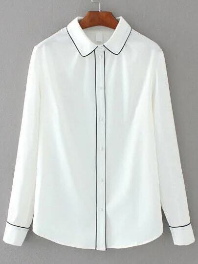 White Contrast Binding Single Breasted Blouse