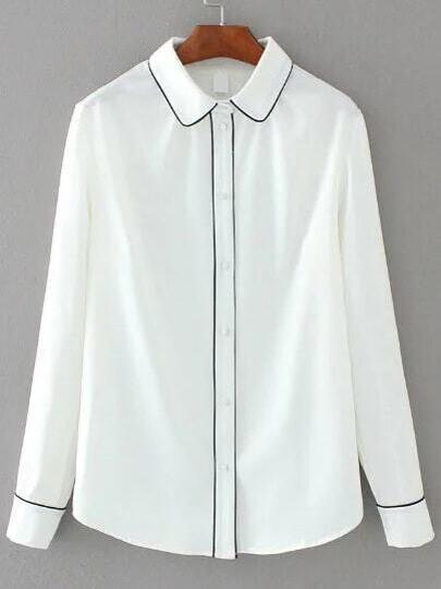 Contrasto Bianco Binding monopetto Camicia
